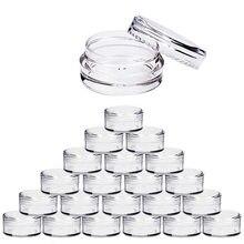 100 pces 2g/3g/5g/10g/15g/20g vazio plástico cosméticos maquiagem jar potes de amostra transparente garrafas sombra creme lábio bálsamo recipiente