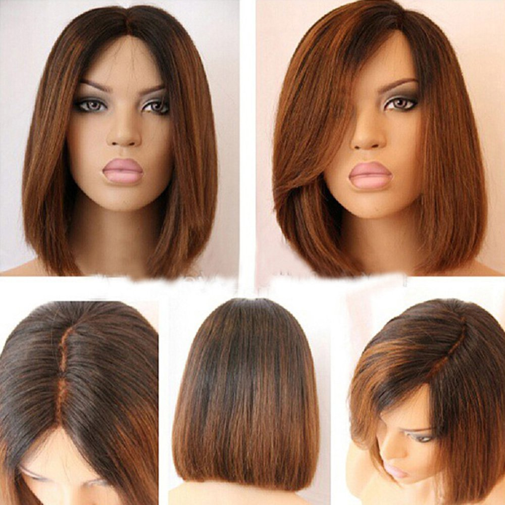 Bob Wig Human-Hair-Wigs Ombre Full-Lace Hairline Knot Brazilian Short 1bt30-Color Belle