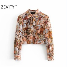 ZEVITY-Blusa informal vintage con estampado floral para mujer, camisa con manga abombada y lazo de decoración para oficina, LS7249