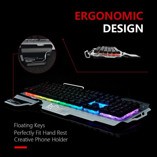 RedThunder K900 RGB Gaming Keyboard and Mouse, Sim-Mechanical Metal Cover, 6400DPI 7 Programmable Button for PC  RU ES FR 6