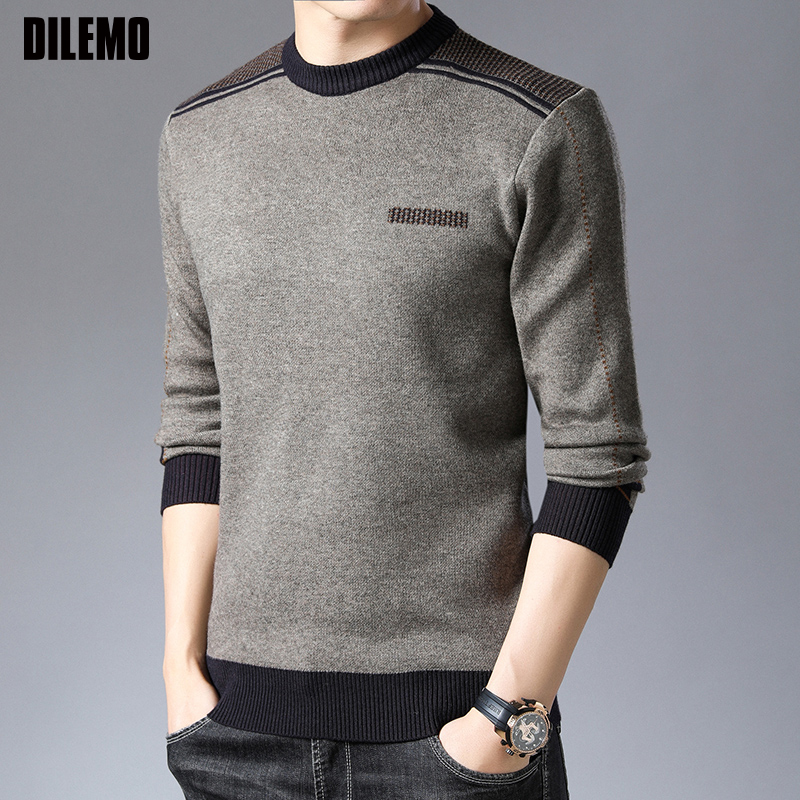 2019 New Fashion Brand Sweater Man Pullovers Thick Slim Fit Jumpers Knitwear Winter Korean Style Warm Casual Clothing Men