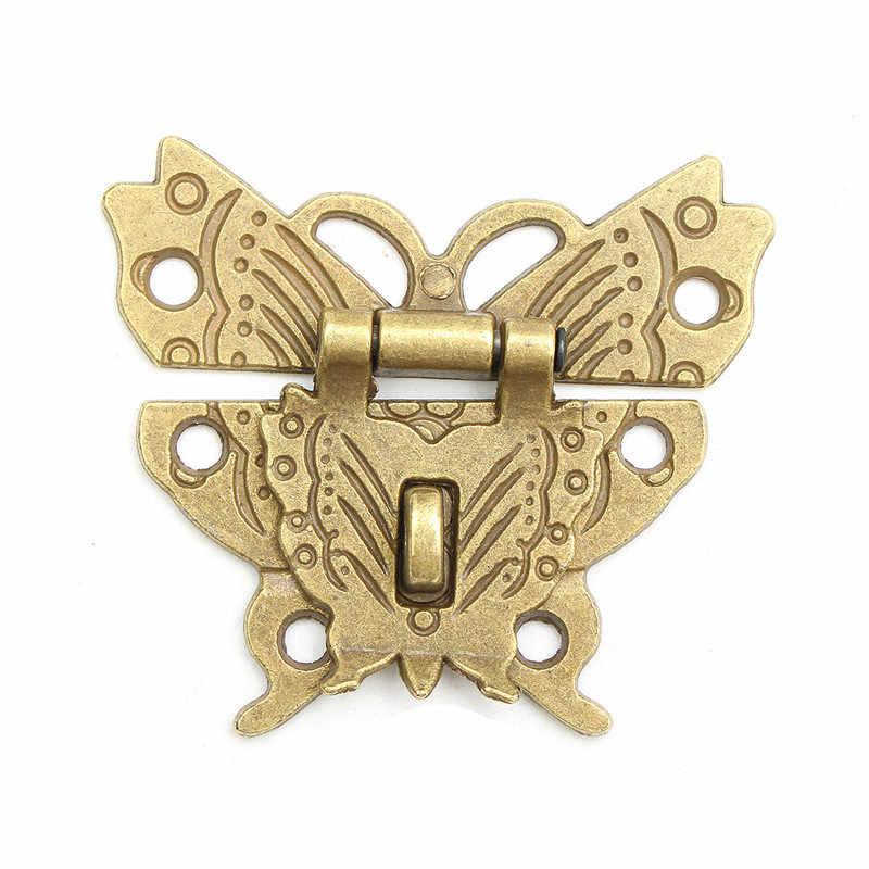 الرجعية خمر فراشة مزلاج الصيد قفل صندوق مجوهرات خشبي حالة غلق بمشبك وسادة الصدر قفل لصندوق الملحقات