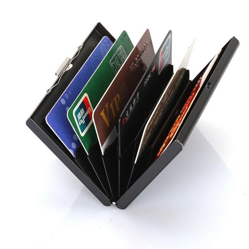 Stainless Steel Credit Card Box Case Holder Slim Anti Protect Travel ID Cardholder Women Rfid Wallet Metal Case Porte Carte