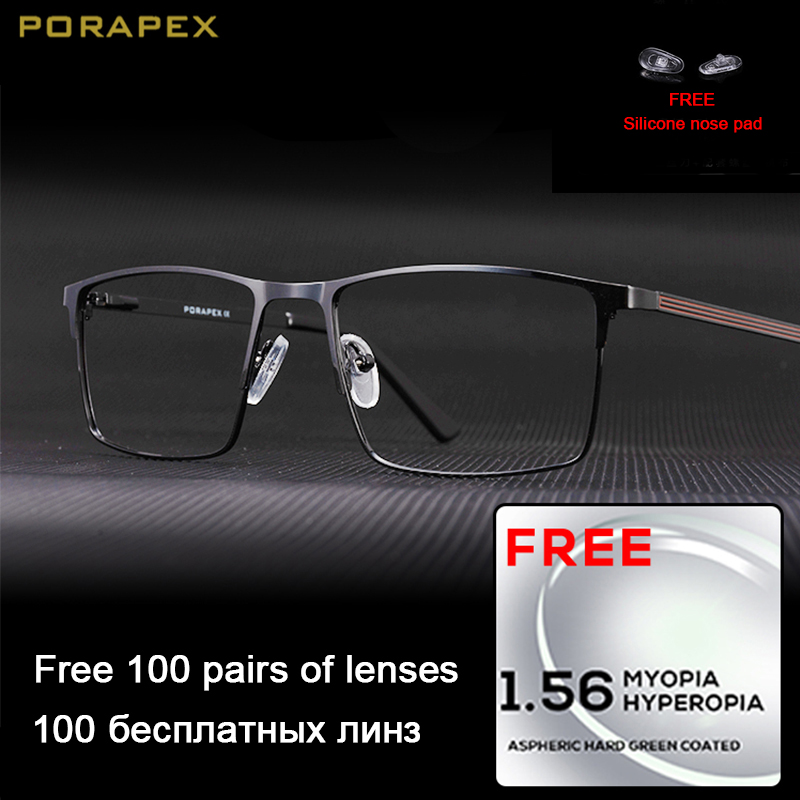 PORAPEX DESIGN Titanium Alloy Glasses Frame Men Fashion Male Square Rimless Eyeglasses Frame Myopia Prescription Glasses Eyewear
