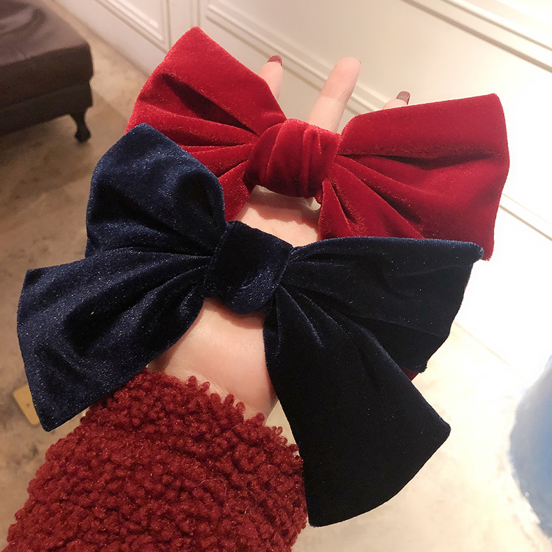 Korean Solid Color Velvet Big Bow Hairgrips Hair Clips For Women Fashion Hair Accessories Hairpins Wholesale
