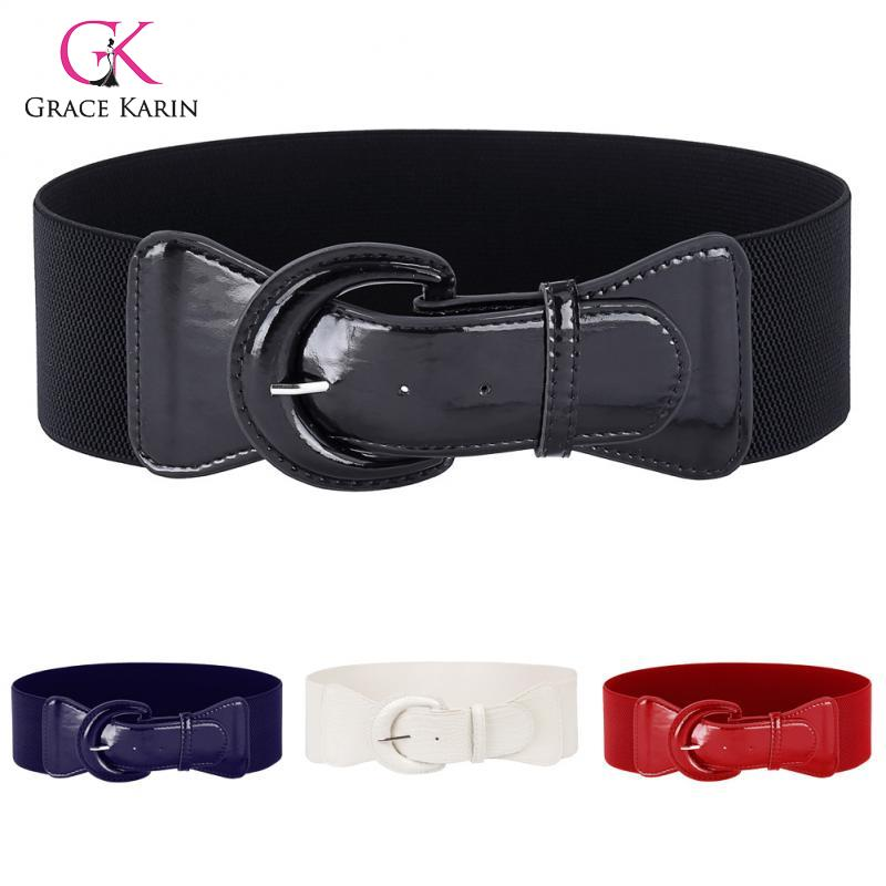 Grace Karin Fashion Women Girls Solid Color Polyurethane Leather Buckle Waist Belt Waistband Stretchy Lady Leisure Ceinture Belt