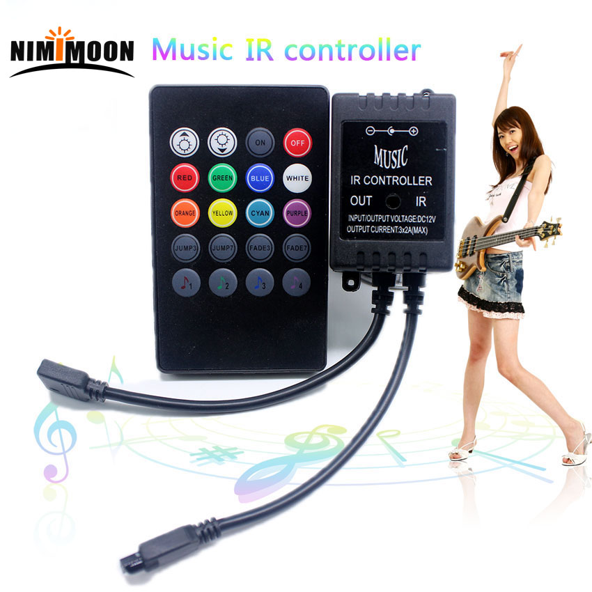Novo 20 teclas de música ir controlador preto sensor de som remoto para rgb led strip alta qualidade