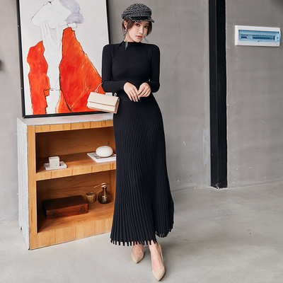 Femmes mince longue Maxi tricot robe pull automne hiver à manches longues plissée robe a-ligne grande balançoire dames pull robes - 4