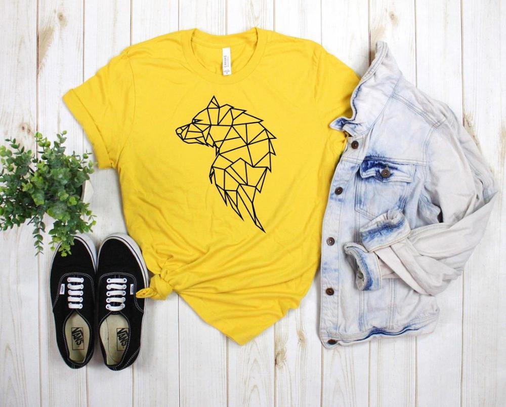 Modern Wolf Geometric Print Women Tshirt Cotton Funny T Shirt Gift For Lady Yong Girl Street Top Tee A-1053