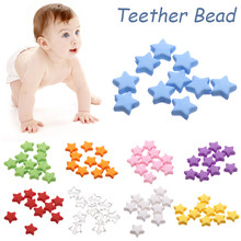 10Pcs/Pack 9/13mm Star Shape Teething Beads Baby Cute Teether Bead Molar Toy Infant Colorful DIY Pacifier Chain Necklace(China)