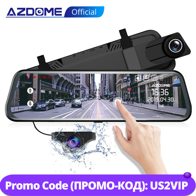 "AZDOME PG02 10"" Mirror Dash Cam Streaming Media Full-Screen Touching ADAS Dual Lens Night Vision 1080P Front 720P Backup Car DVR(China)"