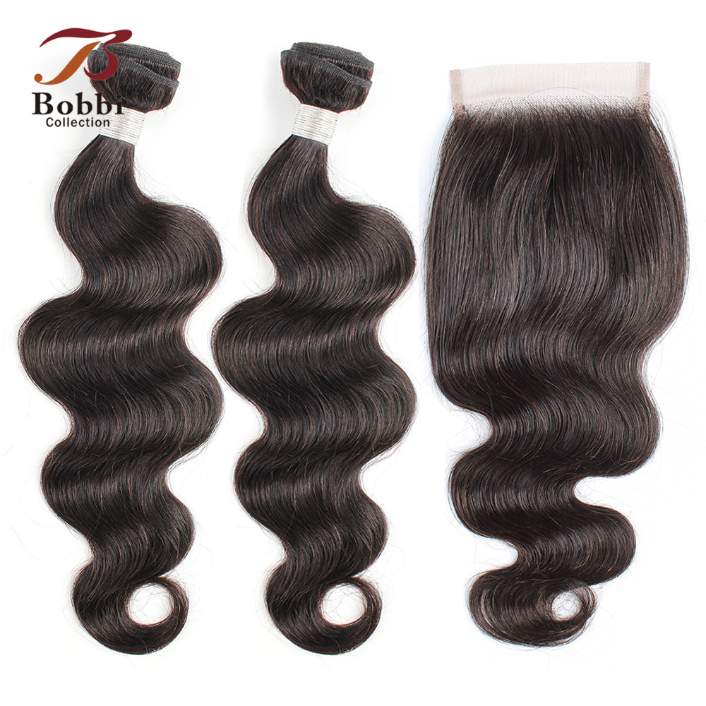 BOBBI COLLECTION Peruvian Body Wave Bundles With Closure Natural Color Non Remy Human Hair Weave 3/4 Bundles With Lace Closure
