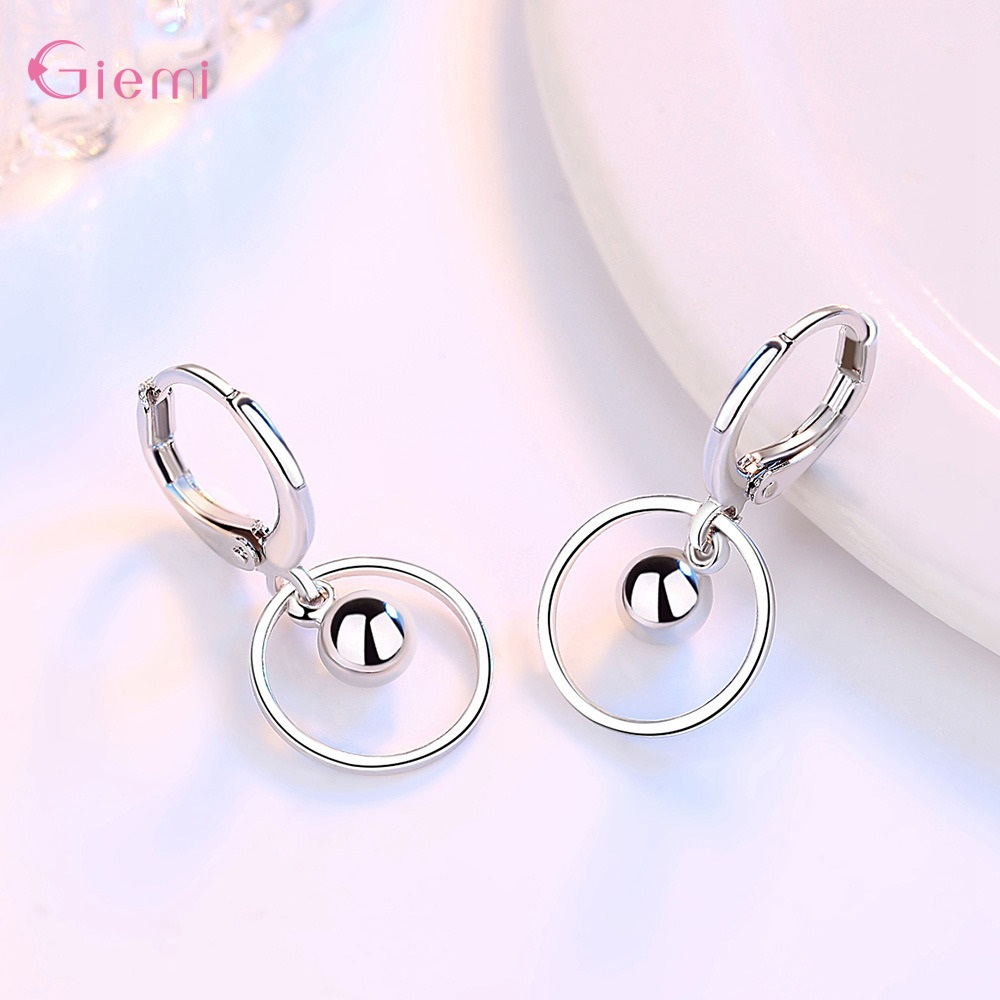 New Fashion 925 Sterling Silver Water droplet Earring for Women Girl Circle Dangle Earrings Jewelry Brincos Gift 1