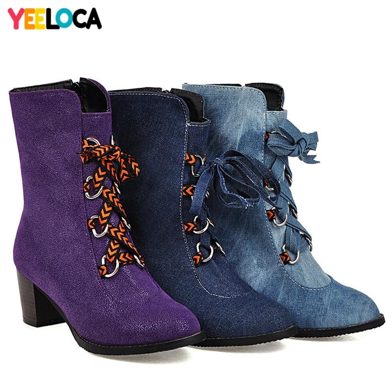 YEELOCA bottes femmes hiver talons hauts bout rond sabot talons à lacets riband mi-mollet court peluche denim chaussures femme