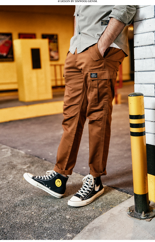 H114dcde348024242aeadd29bc8119f583 SIMWOOD New 2019 Casual Pants Men Fashion track Cargo Pants Ankle-Length military autumn Trousers Men pantalon hombre 180614