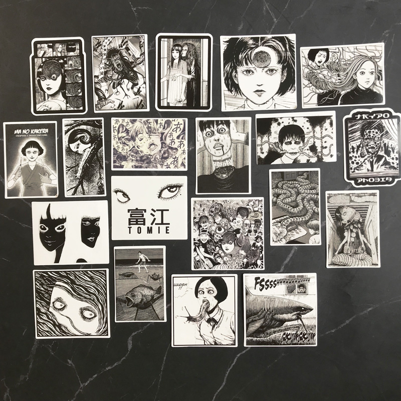 56Pcs Horror Comics Stickers Japanese Anime  Decal for Snowboard Laptop Luggage Car Fridge Car-Styling Vinyl Home