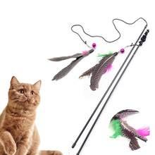 Vareta de brinquedo com penas para gatos, brinquedo artificial e interativo de plástico com pequeno rato com guizo para provocar gatos, 1 peça