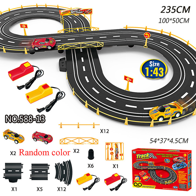 1:43 Electric Track Railway Toys Slot Car Set Autorama Circuit Voiture Double Remote Control Racing Track For Boy Children Gift 2