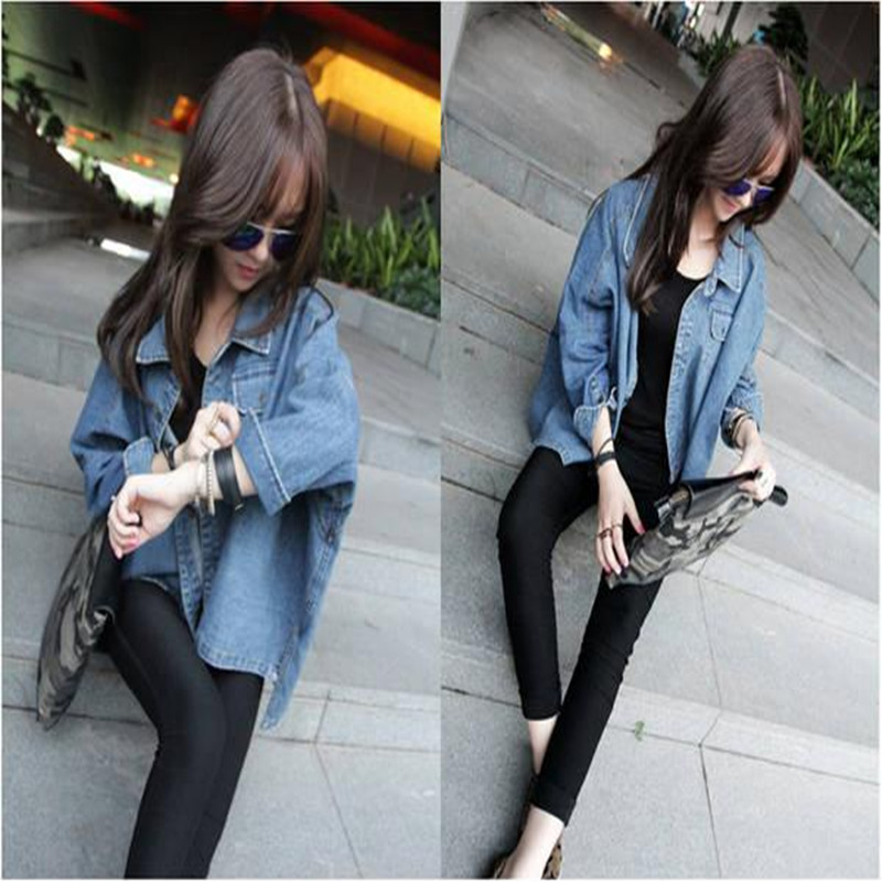 Spring and Autumn Bat Sleeves Irregular Loose Large Size Jeans Jacket Fashion Lady 39 s Casual Jacket in Jackets from Women 39 s Clothing