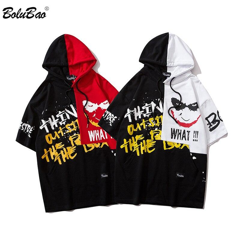 BOLUBAO Men Cotton T Shirts Short Sleeve Hooded T-Shirts Hip Hop Clown Graffiti Printed Male High Quality Street Tee Shirt