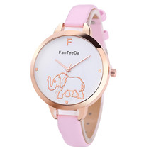 PESIRM Featured Womens Watches Elephant Pattern Dial Ladies Fashion Quartz Wristwatch