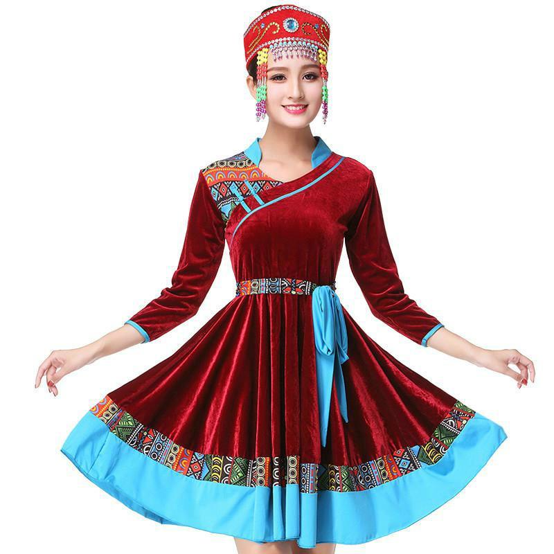 Женское танцевальное платье Zorro Kni ght, бренд 2019, новый квадратный танцевальный костюм, Золотое бархатное платье, тибетские монгольские