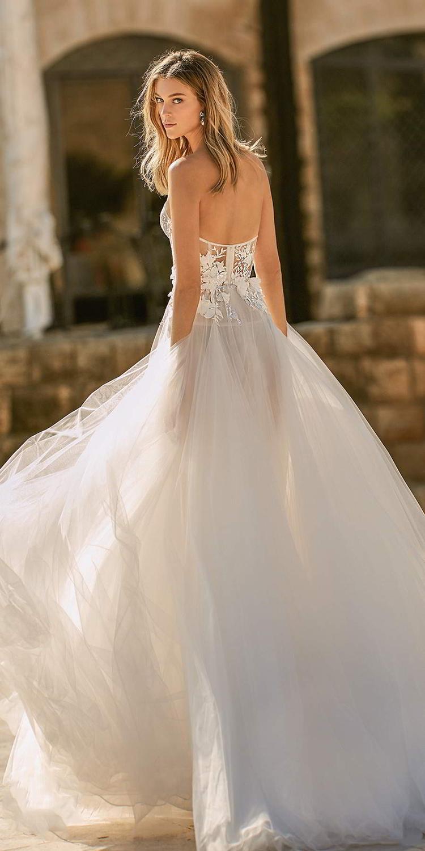 Verngo A line Boho Wedding Dress Appliques Lace Wedding Dress Strapless Elegant Bride Dress Vestidos De Novia 2020 in Wedding Dresses from Weddings Events