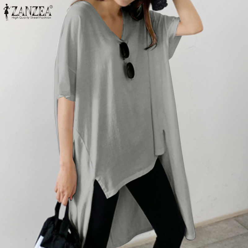 ZANZEA Summer Short Sleeve Asymmetrical Blouse Fashion Women V Neck Long Shirt Casual Split Tunic Tops Femme Solid Blusas Mujer7