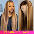 Парик из натуральных волос с прозрачной сеткой спереди, парики из искусственных волос плотностью 180, бразильские Прямые Цветные парики из ч...