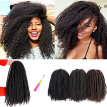 ELEGANT MUSES Marley Braids Synthetic Afro Kinky Curl Crochet Braid Yaki Ombre Braiding Hair Extensions  Black Brown10 14 18inch