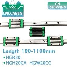2 pçs hgr20 hgh20 quadrado trilho de guia linear qualquer comprimento + 4 peças slide bloco transporte hgh20ca/flang hgw20cc cnc peças roteador gravura