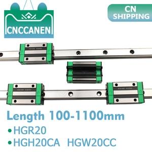 Image 1 - 2 sztuk HGR20 HGH20 kwadratowa prowadnica liniowa dowolna długość + 4 sztuk blokujący przesuwanie się wózka HGH20CA /Flang HGW20CC CNC części Router grawerowanie