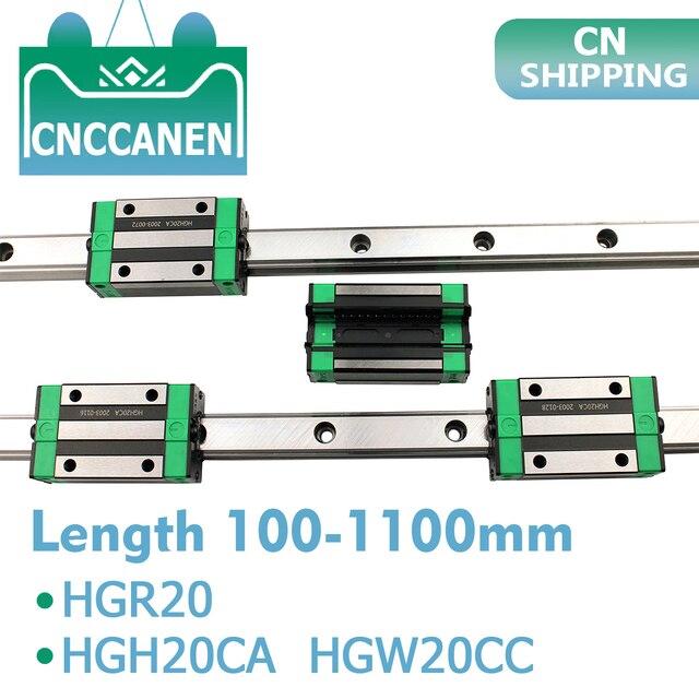 2 sztuk HGR20 HGH20 kwadratowa prowadnica liniowa dowolna długość + 4 sztuk blokujący przesuwanie się wózka HGH20CA /Flang HGW20CC CNC części Router grawerowanie