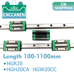 Image 1 - 2PCS HGR20 HGH20 Square Linear Guide Rail Any Length+4PCS Slide Block Carriage HGH20CA /Flang HGW20CC CNC Parts Router Engraving