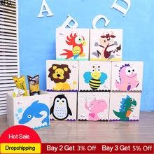 13 pouces 3D lavé Oxford tissu jouet boîte de rangement bébé chambre jouet organisateur boîtes pour enfants jouets conteneurs de stockage