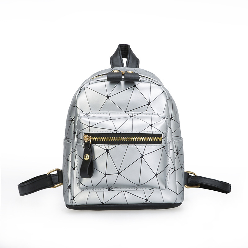 2020 New Hot Fashion Style Women Portable PU Leather Mini Backpack Girls Zipper Geometry Pattern Small Backpack