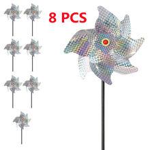 8 PCS Bird Repellent Pinwheels Sparkly Reflective Anti Bird Scarecrow Protect Garden Lawn Flower PVC Deterrent Windmill