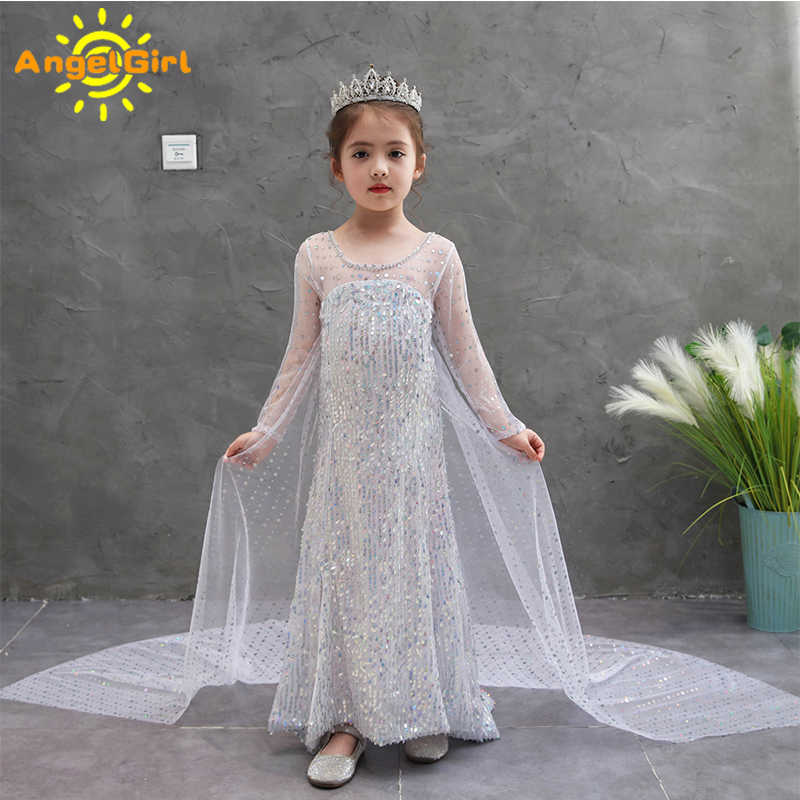 AngelGirl Zomer Elsa Dress Frozen 2 Meisjes Prinses Jurken Disney Kostuum Cosplay Kids Kleding Snow Queen Gown Thema Party Show