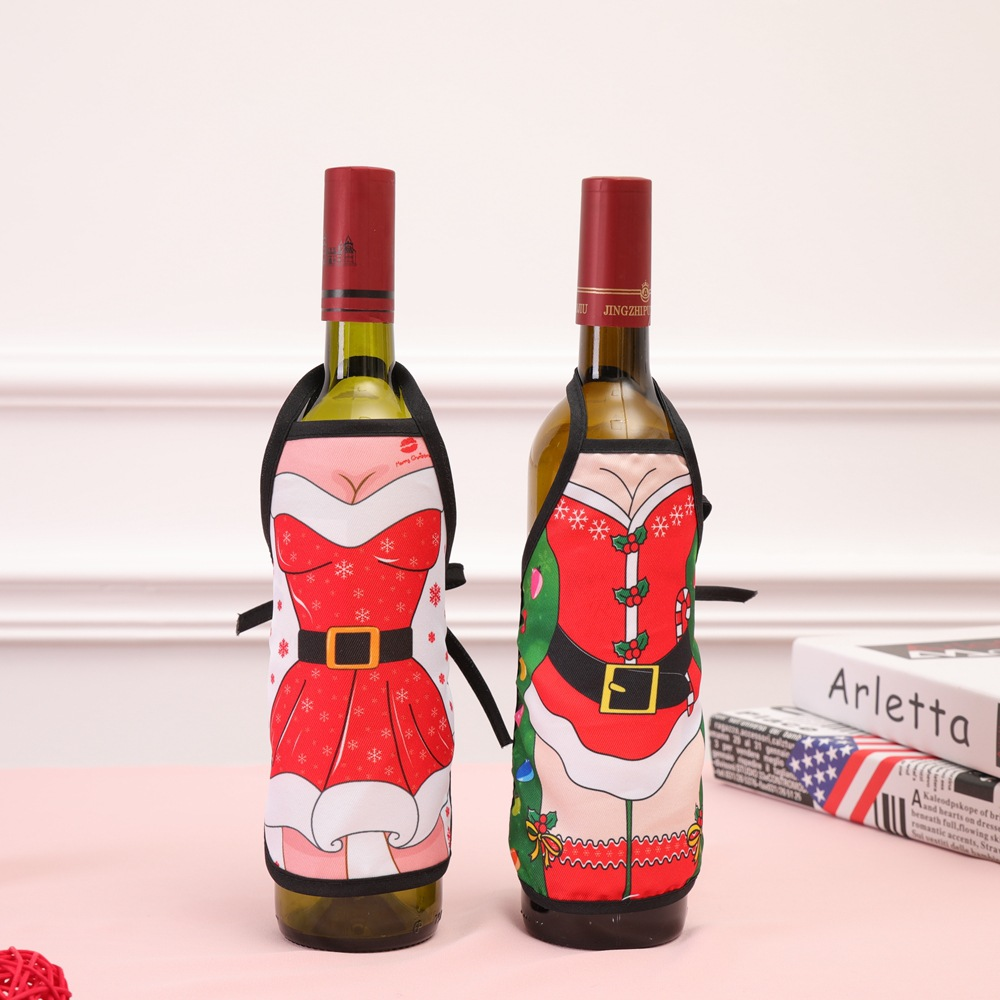 Mini Christmas Apron Red Wine Bottle Set Cover 11pcs/lot Xmas Decorations Dining Table Ornaments Family New Year Party Supplies