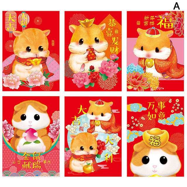 Us 0 2 76 Off 6pcs Pack 2020 Chinese Cartoon Rat Fortune Cat Red Envelope Children New Year Red Pocket For Student Kids Gift 9 Styles Cute Rat On