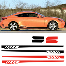 DWCX PVC Black/Red 2Pcs Vinyl Car Side Body Long Stripe Decal Decor Sticker Styling Fit for Mercedes Benz