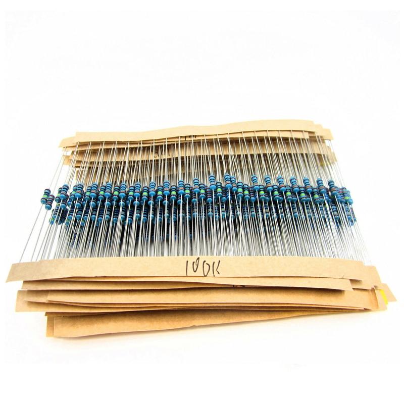 400pcs/lot 20 Kinds Each20 1% 1/4 W Resistor Pack Set Diy Metal Film Resistor Kit Use Colored Ring Resistance