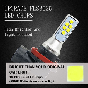 Image 3 - 5PCS Auto Led H11 H8 Fog Light Super Bright 12SMD 3535 Chip White 6500K Car Bulbs Driving Running Lights 12V