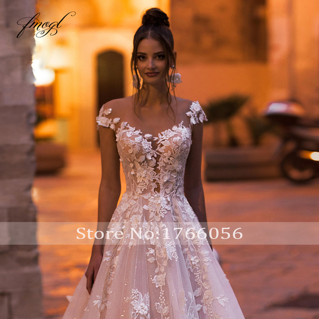 Fmogl Sexy Backless Cap Sleeve Lace Princess Wedding Dress 2021 Appliques Beaded Flowers Court Train Vintage A Line Bridal Gowns 4