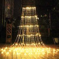3X3M LED cascade chute de neige rideau glaçon LED chaîne lumière météore douche effet de pluie chaîne lumière noël mariage lumière