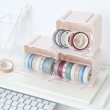 1pc Japanese Washi Tape Organizer Box Container Tape Storage Desktop Tape Holder Case DIY Tools Office Stationery Supplies