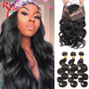 RXY Remy Hair 3 Bundles Brazilian Body Wave Human Hair Weave Bundles With Frontal Closure 360 Lace Frontal With Bundle 4 Pcs/Lot