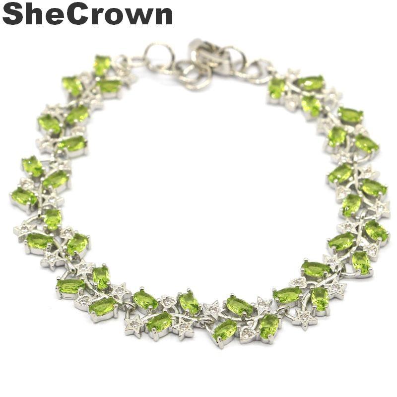 High Quality Classical Round Green Peridot Gemstone Silver Charming Bracelets