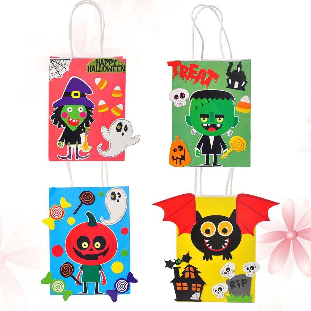 4pcs Bat Pumpkin Green Zombie Witch Paper Gift Bag With Handle For Halloween Party Shop Store Gift Package Wrapping Supplies