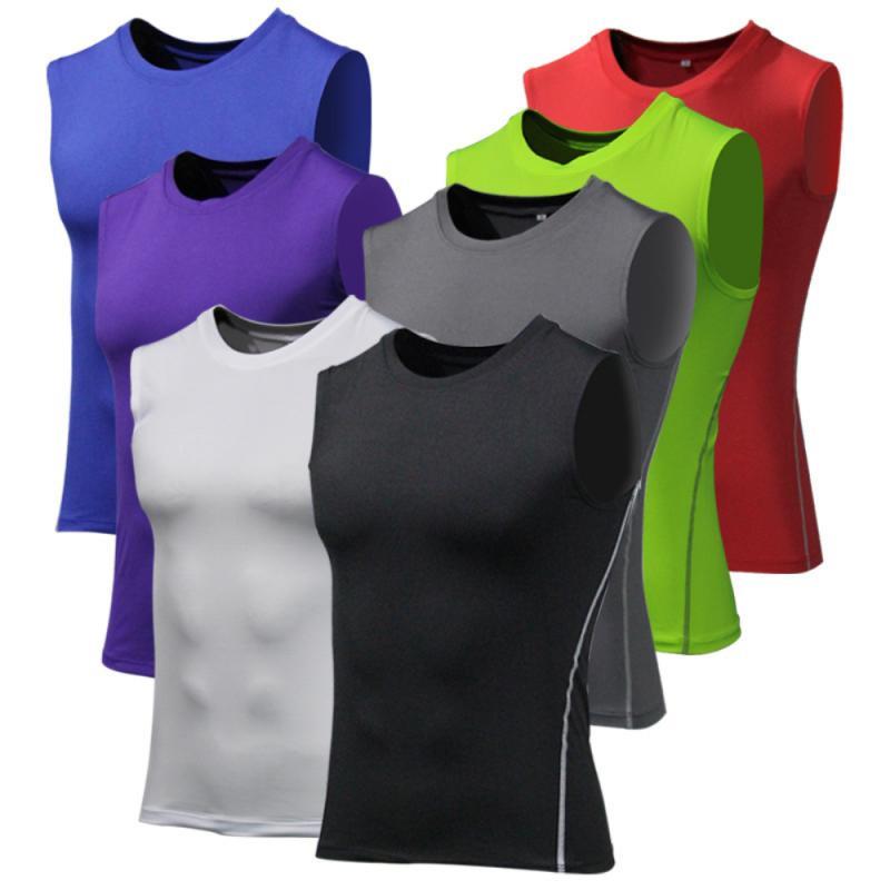 Sports Fitness Running Vest Men Fitness Tops Sleeveless Training Stretch Compression Shirt Vest Breathable Tights Men Sportswear